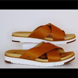 UGG Kari Cross Band Slide Sandals in Natural - 7
